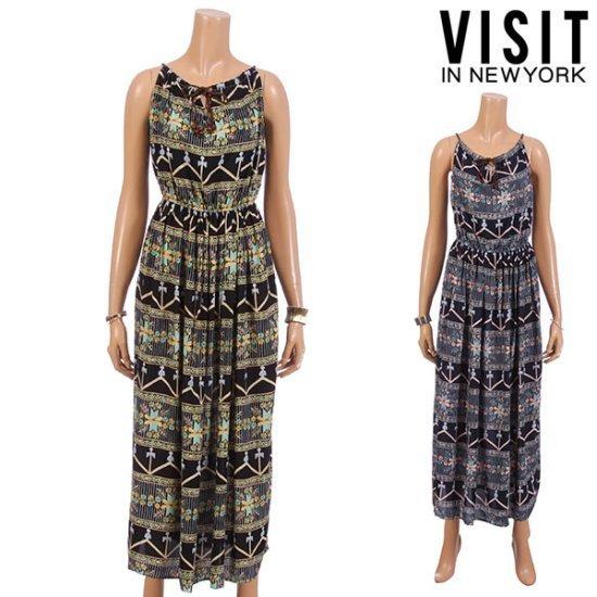 ・ビジット・インニューヨークエスニック・ツイーディーマキシのワンピースVTFOP06 面ワンピース/ 韓国ファッション