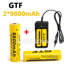 High Energy 2 pcs 18650 battery 3.7V 9800mAh rechargeable li-ion battery + one charger for Led flashlight batery litio battery 18650