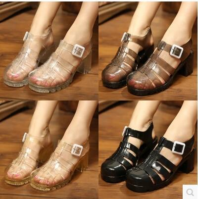 6b875341dddd New Korean women crystal jelly shoes sandals Roman thick with high-heeled  candy color slip