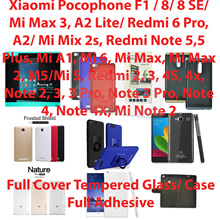 Full Cover/Adhesive Tempered Glass/Case*Xiaomi Pocophone/Mi Max 3/8/Redmi 6 Pro/A2 Lite/Note 5 Pro