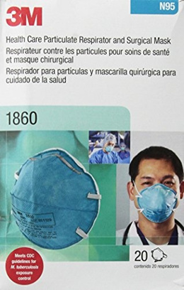 3M 1860 N95 RESPIRATOR AND SURGICAL MASK Box of 20 (Pack of 1) (Pack of 2)