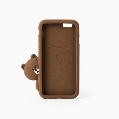 meet 68e09 27fdb Korean perspective line Brown Bear iphone7 Apple phone shell silicone  sleeve 6s 7plus all inclusive