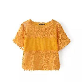 Fashion Lace Stitching Back Zipper Short Sleeve T-Shirt