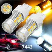 2PCS 22LED 7443 7440 Amber White LED Bulbs Front Turn Signal Light Dual Color Switchback