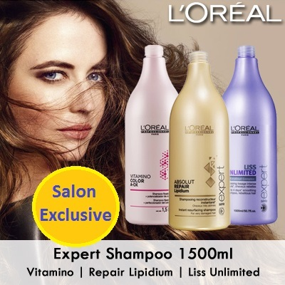 1500ML Hair Salon ExclusiveLoreal Expert Shampoo 3 Jenis Vitamino / Perbaikan Lipidium / Liss Unlimited Deals for only Rp275.000 instead of Rp275.000