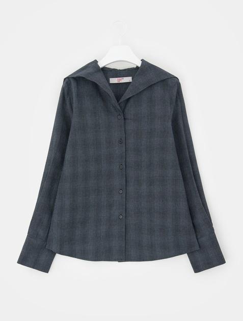 8SECONDS Sailor Collar Check Cropped Shirt - Black