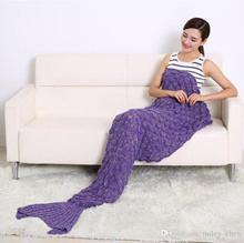2016 Hot Crochet Mermaid Tail Blanket with scale 7 colors Blanket Bed Sleeping Costume Mermaid Air-c