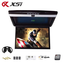 XST 17.3 Inch Car Roof Flip Down Ceiling Mount Monitor Support HD 1080P IR FM Transmitter USB SD HDM