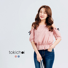 TOKICHOI - Cut-off Shoulder Blouse with Ribboned Sleeves-170495