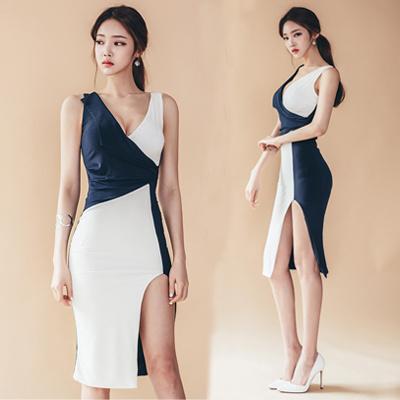 新型韓国ファッション女装スプライスVバッグの尻はやせてやせてやせているワンピースパーティードレス ワンピミニドレスショートドレス結婚式二次会2次会お呼ばれパーティ