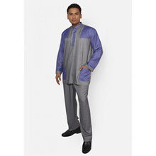 Fitri Colour Block Baju Melayu Suit Only (Grey/Purple)