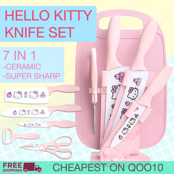 Pink Hello Kitty Knife Set 7 in 1 Ceramic Stainless Steel Knife Fruit Knife Peeler Scissors Cutting Deals for only S$69.9 instead of S$69.9