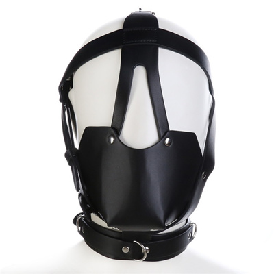 Bdsm Mask Leather Bondage Restraints Body Hood Harness Mouth Gag Sexy  Bondage Gear Slave Fetish Erot