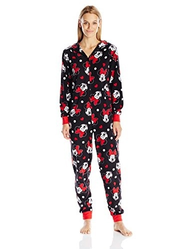 f3a2e86821b Disney Womens All-Over Print Minnie Mouse Onesie Pajama, Black, X-Large