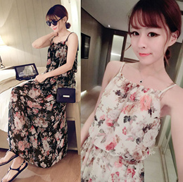 2016 new spring and summer beach dress put on a large floral skirt camisole dress printed chiffon dress female