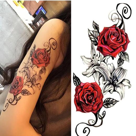 Qoo10 Red Roses Flower Temporary Tattoos Stickers Body Art 3d Rose Tatoo Wat Cosmetics