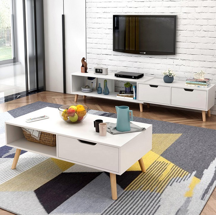 Tv Side Table.Coffee Table Coffee Desk Wood Side Table Dining Table Elegant Furniture Tv Console Storage