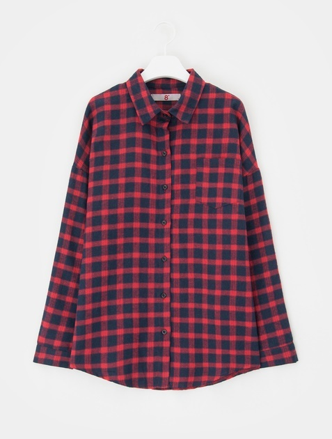 8SECONDS Flannel Check Casual Shirt - Red