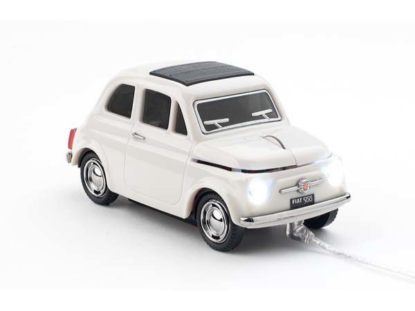 Click Car Mause Click Car Mouse Wired Fiat 500 Old Fiat White 660028