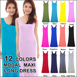 Free Shipping!Super comfy work/casual Sleeveless Maxi Dress/Plus Size MODAL Comfortable --CQ02