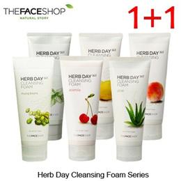 THE FACE SHOP Hub Day Cleansing Foam Series 1+1 (Spearmint(MEN) / Kosher Lemon / Supple peach / acerola / green beans / Moisturizing Aloe)