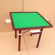 Wooden Mahjong Table with Stainless Steel Legs Foldable Mahjong Table Wood Mahjong Table
