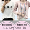 [ 5 in 1 Shipping] 2016 Autumn Plus Size Printed long-sleeved t-shirt womens