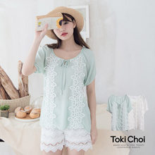 TOKICHOI - Collared Loose Fit Tie Front Blouse-6010662
