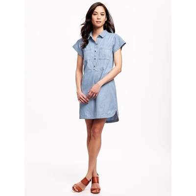 Short-Sleeve Chambray Dress - Dark Washed