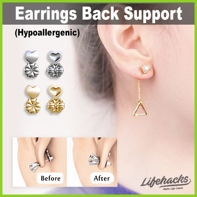 754cc6dfb 18k Gold Hypoallergenic Support Earring Backs ☆ Secure Lift Earrings to  Earlobe! Perfect Gift