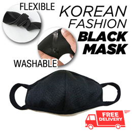 [LOCAL DELIVERY] Korean Fashion Black Mask⭐Celebrities Airport Fashion/Anti-Haze/PM 2.5/ Promotion