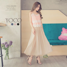 YOCO - Eyelash Lace Chiffon Long Skirt-180737
