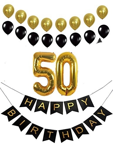 50th Birthday Decorations Party Supplies Favors Happy Banner Mylar Balloons Numbe