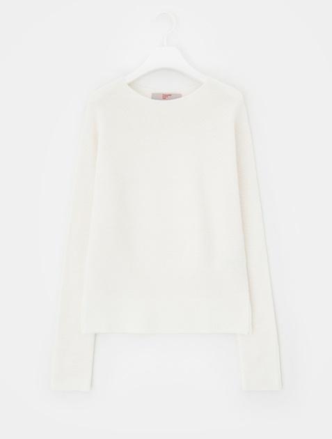 8SECONDS [Whole Garment Knit] Side Slit Boat Neck Knit - Ivory