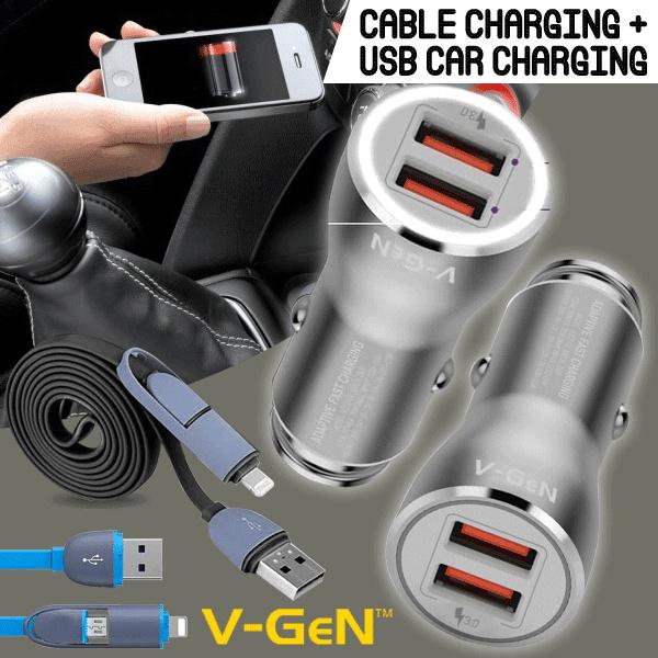 [NEW 2018] Travel / Car Charger V-GEN Fast Charging 3.0 Ampere Bundling Smart Noodle USB 2in1 Deals for only Rp125.000 instead of Rp125.000