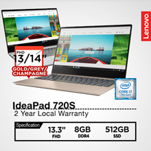 Lenovo|IdeaPad 720S|13.3 FHD/15.6FHD|i7|Gold/Grey/CHAMPAGNE|2 Year Local Warranty