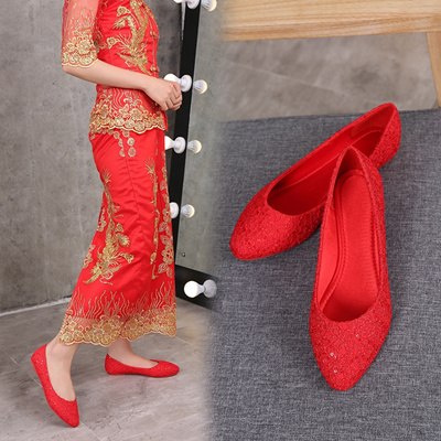 58252fcf9 2018 Autumn Bride shoes red white beige large size maternity Flat Heel  Pointed Toe bridesmaid dress