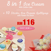 8 in 1 Ice Cream With Chiffon Cake + 10 Sticks Ice Cream Lollipop with Flower Pot Decor