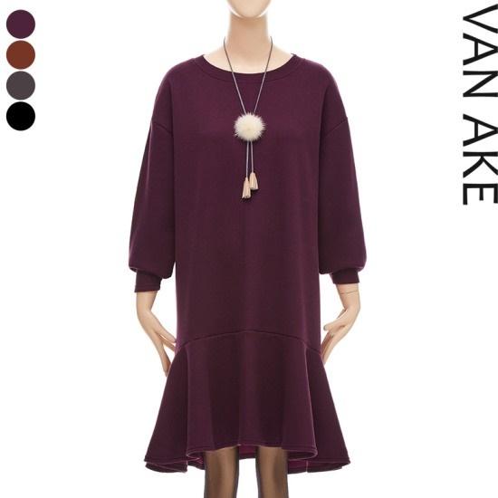 バンエイクオボピッペプラム起毛ワンピースV7W1OP4320 面ワンピース/ 韓国ファッション