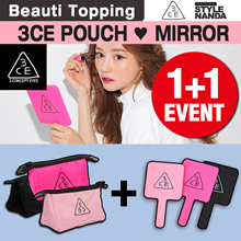 Beauti Topping] {3CE} ★ 1 + 1 ★ Korean Cosmetics / Cosmetic Pouch / Hand mirror / pouch / Cosmetic Pouches / Make up Mirror / Mirror