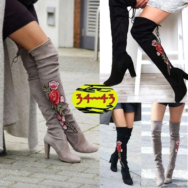 女性の冬の太ももハイブーツ絶妙な刺繍の花フェイクスエードハイヒールの膝の靴