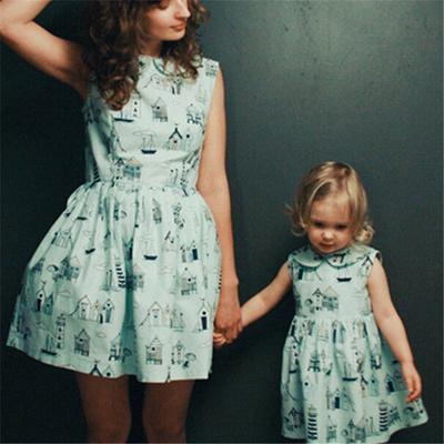 679950288bb shop Mother Daughter Dresses Summer Family Matching Dress 2018 Parent-child  Short Sleeve Dresses Mot