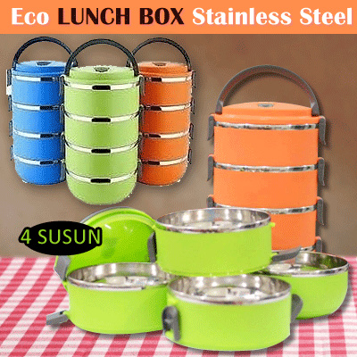 ECO LUNCH BOX STAINLESS STEEL RANTANG 4 SUSUN Deals for only Rp55.000 instead of Rp55.000