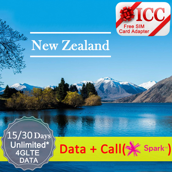 ? ICCNew Zealand Sim Card·15/30 Days?Spark/ Vodafone Unlimited Data / Local  package + ? Free ada