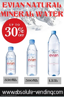 EVIAN NATURAL MINERAL WATER ASSORTED SIZES.  30% OFF RETAIL PRICE [FREE DELIVERY]