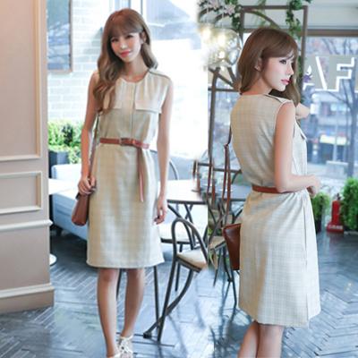 【送料無料】ハイウエスト復古OLスタイルはタンクトップワンピースでスカートを夏の女装ベルト
