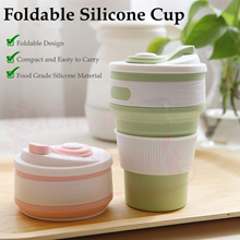 Food Grade Folding Silicone Drinking Collapsible Coffee Cup Multi-function Portable Heat Insulation