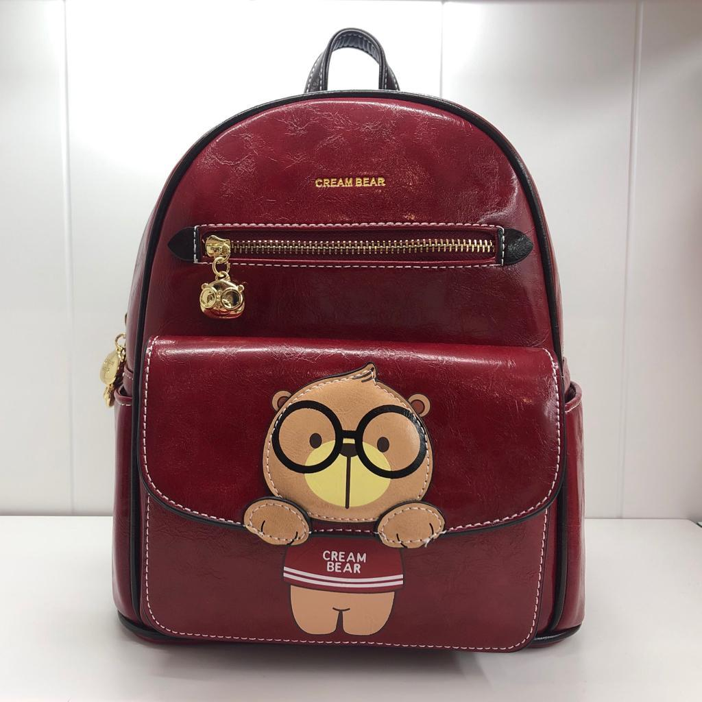 *OFFICIAL STORE* MAROON CREAM BEAR BIG BAGPACK