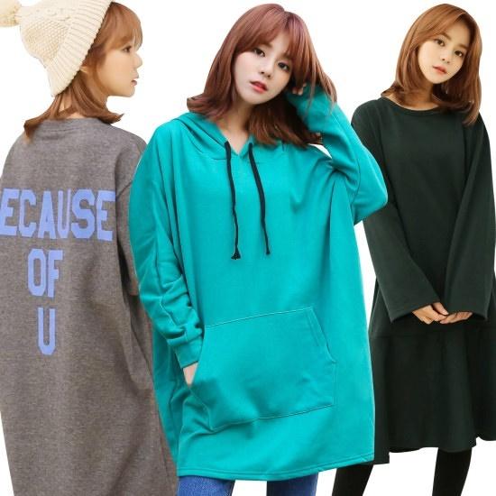 クルリクエンミ冬起毛ワンピースロングティーシャツ40種 塔/袖なしのワンピース/ 韓国ファッション