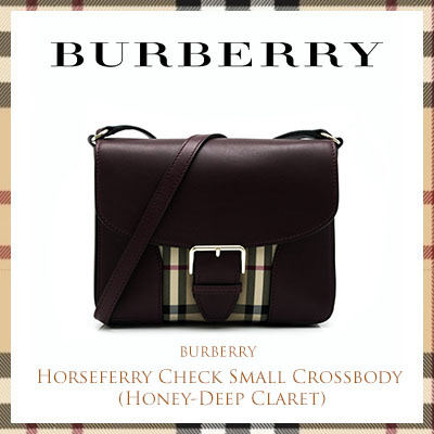 BurberryBurberry Horseferry Check Small Crossbody (Honey-Deep Claret)